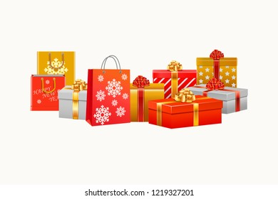 chirstmas presents and chirstams boxes with white background