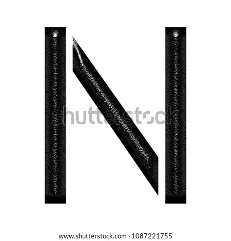 Chiseled Black Metallic Letter N 3 D Stock Illustration 1087221755
