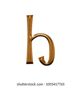 Chiseled copper color metal letter H (lowercase) in a 3D illustration with a rough texture and shiny bronze metallic finish fun curly font isolated on a white background with clipping path.