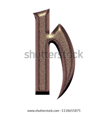 d8da24a93f4e9 Chiseled rose gold letter H (lowercase) in a 3D illustration with a soft  metallic