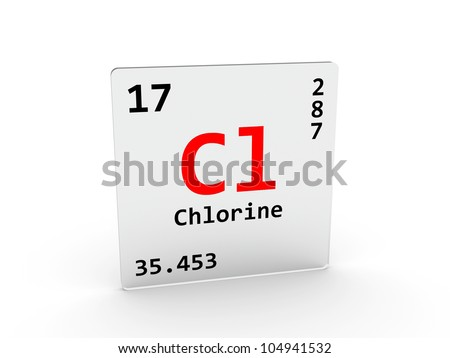 Chlorine Symbol Cl Element Periodic Table Stock Illustration
