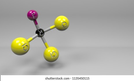 Chlorofluorocarbon molecule illustration. Molecular structure of CFC-11 compound. Gas contributor to depletion of the ozone in the atmosphere. 3D rendering. Footage Available.