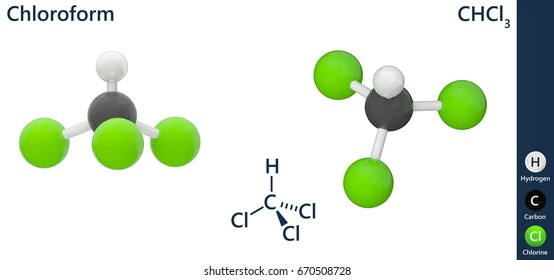 Chloroform, or trichloromethane, is an organic compound with formula CHCl3. 3D illustration. Isolated on white background. The molecule is shown from 2 sides.