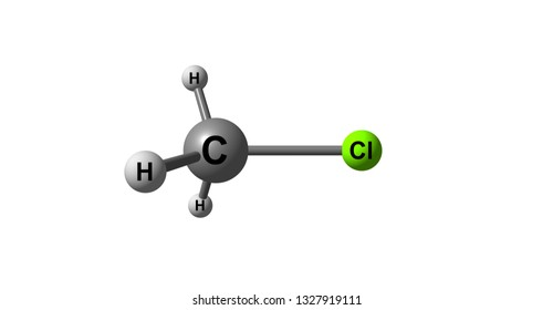 Chloromethane or methyl chloride, Refrigerant-40, is a chemical compound of the group of organic compounds called haloalkanes. 3d illustration