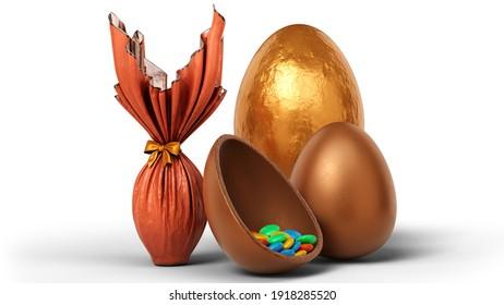 Chocolat Easter Eggs pack 3D Illustration
