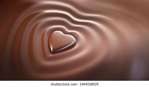 Chocolat heart with molten dark chocolat - 3D illustration