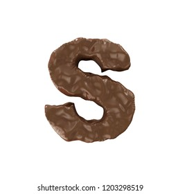 Chocolate Alphabet isolated on white background (Letter S). 3D Rendering