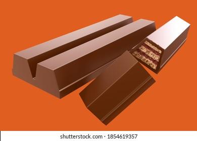 Chocolate  bar broken with crispy wafer. 3d illustration.