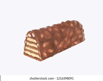 chocolate bar with nuts coated on Crispy wafer with Clipping path 3d render.