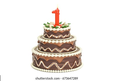 Chocolate Birthday cake with candle number 1, 3D rendering isolated on white background