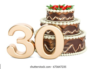 Chocolate Birthday cake with golden number 30, 3D rendering isolated on white background