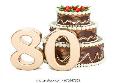 Chocolate Birthday cake with golden number 80, 3D rendering isolated on white background