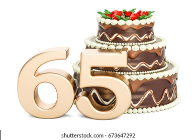 Chocolate Birthday cake with golden number 65, 3D rendering isolated on white background