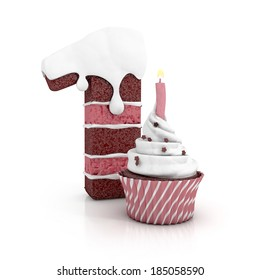 chocolate birthday cake in shape of number one with cupcake and lit candle. 3d render. illustration isolated on white background