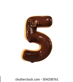 Chocolate Biscuit Donut Font Concept. Delicious Number 5, Five. 3d rendering isolated on white background