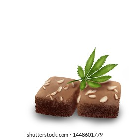 Chocolate Brownies with Cannabis (Marijuana) Leaf for Party isolated on White Background. Digital Painting Illustration.