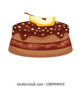 Chocolate cake torte with apple topping  template icon