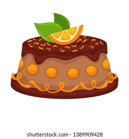 Chocolate cake torte with orange topping  template icon