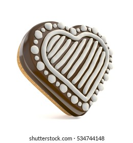 Chocolate Christmas gingerbread heart shape decorated with white lines. 3D render illustration isolated on white background
