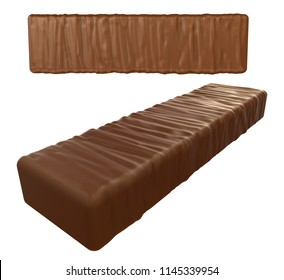 Chocolate coated bar. 3d render