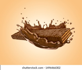 chocolate coated on Crispy wafer. 3D Rendering - Illustration