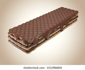 Chocolate coated on Crispy wafer, Design for Packaging with Clipping path 3d illustration.