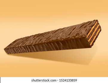 chocolate coated wafer. 3D Rendering