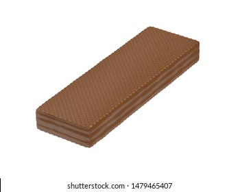 Chocolate covered wafer, isolated on white background. 3D illustration
