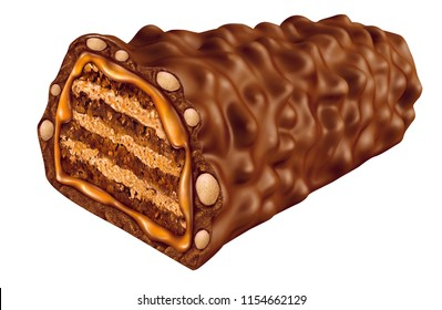 Chocolate crispy rice  wafer. 3D illustration clipping path.