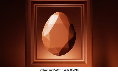 Chocolate Diamond Shaped Easter Egg with Picture Frame 3d illustration 3d render