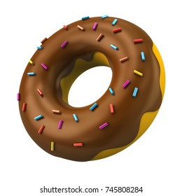 Chocolate donut with decorative sprinkles 3d illustration on white background