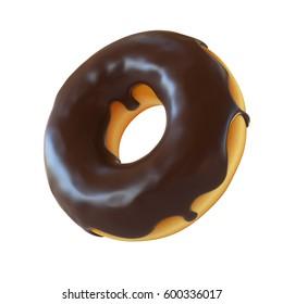 Chocolate donut or doughnut 3d rendering