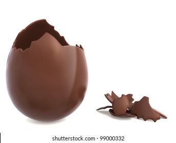 Chocolate easter egg broken with pieces