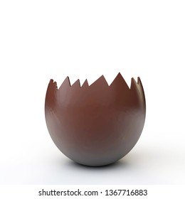 Chocolate easter egg cracked open. 3D Rendering