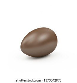 Chocolate Easter Egg isolated on white background. 3D rendering