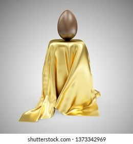 Chocolate Easter Egg on Stand Covered with Golden Cloth Fabric on gradient background. 3D rendering