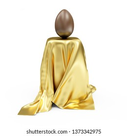 Chocolate Easter Egg on Stand Covered with Golden Cloth Fabric isolated on white background. 3D rendering