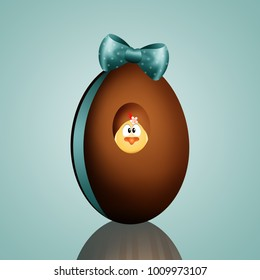 Chocolate egg with chick