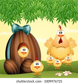 Chocolate eggs with chickens family
