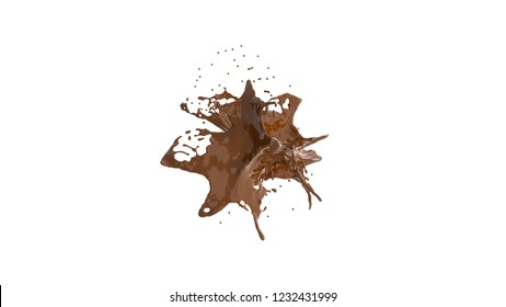 chocolate explosion on white. 3d rendering