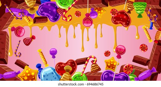chocolate factory horizontal banner concept. Cartoon illustration of chocolate factory, banner horizontal  for web