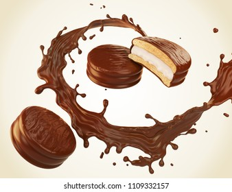 Chocolate pie with Chocolate or Cocoa Splash, 3d illustration.