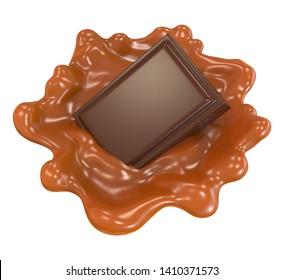 Chocolate piece and caramel sauce splash. 3d illustration.