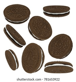Chocolate sandwich cookies isolated on white background. Sweet product consisting of two chocolate wafers and a sweet creme filling viewed from different angles. 3D rendering.
