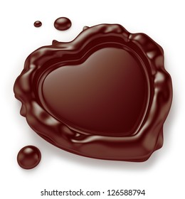 Chocolate seal in the shape of a heart isolated on white background. Computer generated image with clipping path.