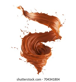 Chocolate spinning into a storm shape, The concept represents the power derived from the value of drinking, 3d illustration with clipping path.