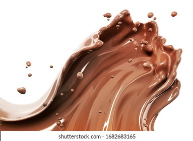 Chocolate splash, food and drink illustration, abstract swirl background, 3d rendering