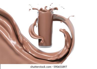 Schokoladensplash in Glas, Küche und Getränke, abstrakter, wirbelnder Hintergrund, einzelne 3D-Darstellung