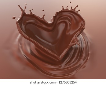 Chocolate Splash In Heart Shape, Love of Valentine's day celebration, 3d illustration.