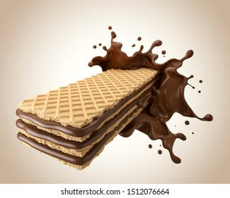 Chocolate splash on Crispy wafer, Design for Packaging with Clipping path 3d illustration.